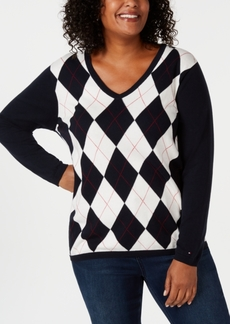 Tommy Hilfiger Plus Size Ivy Argyle Sweater, Created for Macy's