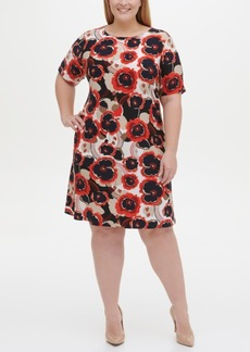 Tommy Hilfiger Plus Size Jersey Floral A-line Dress