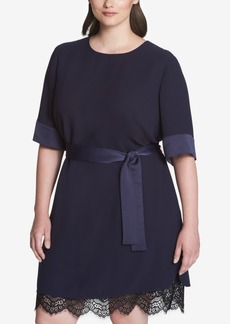 Tommy Hilfiger Plus Size Lace-Hem A-Line Dress, Created for Macy's