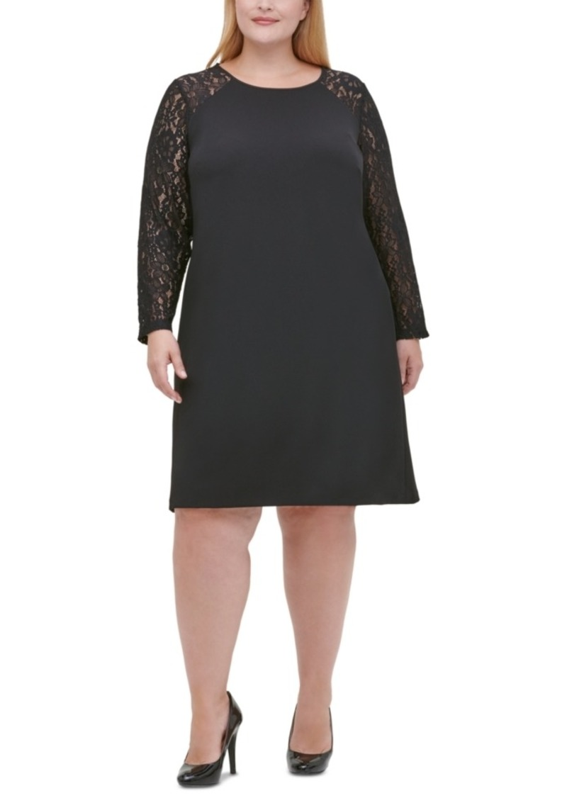 Tommy Hilfiger Plus Size Lace-Sleeve A-Line Dress