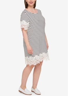Tommy Hilfiger Plus Size Lace-Trim Striped Dress, Created for Macy's