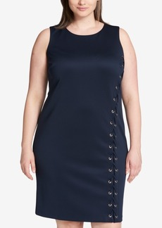 Tommy Hilfiger Plus Size Lace-Up Sheath Dress, Created for Macy's