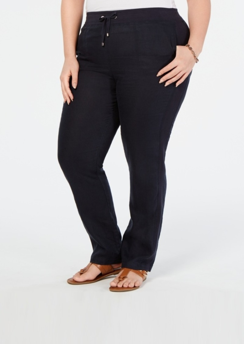 Tommy Hilfiger Plus Size Linen Slim-Leg Pants, Created for Macy's