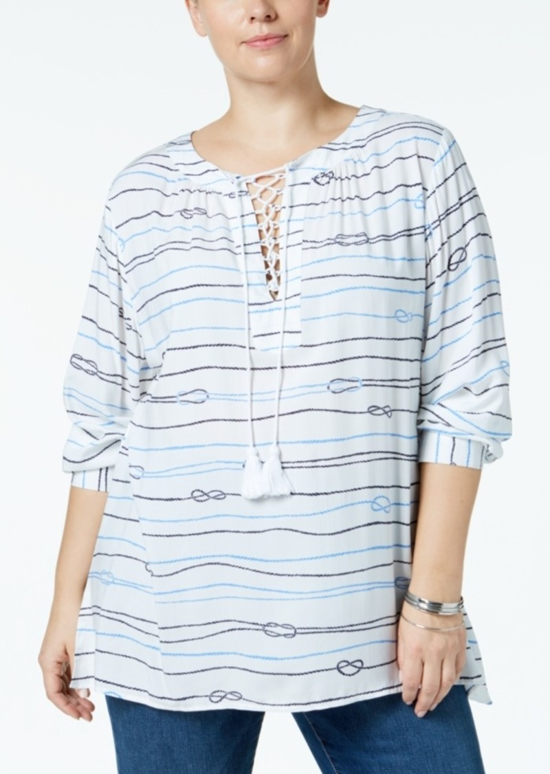 b907aa8747d Tommy Hilfiger Plus Size Love Knot Lace-Up Tunic, Created for Macy's