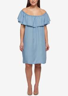 Tommy Hilfiger Plus Size Off-The-Shoulder Denim Shift Dress