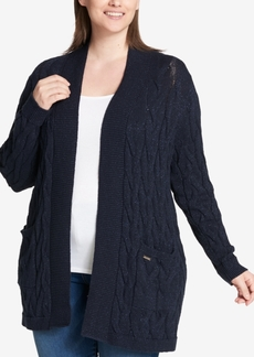 Tommy Hilfiger Plus Size Open-Front Cable-Knit Cardigan, Created for Macy's