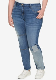Tommy Hilfiger Plus Size Patched Raw-Hem Straight-Leg Jeans, Created for Macy's