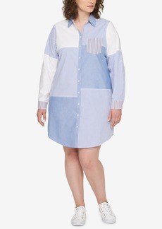 Tommy Hilfiger Plus Size Patchwork Shirtdress, Created for Macy's