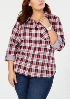 Tommy Hilfiger Plus Size Plaid Button-Front Shirt, Created for Macy's