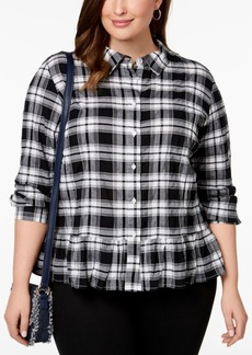 Tommy Hilfiger Plus Size Plaid Peplum Blouse, Created for Macy's