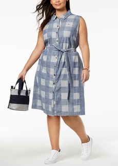Tommy Hilfiger Plus Size Plaid Shirtdress, Created for Macy's