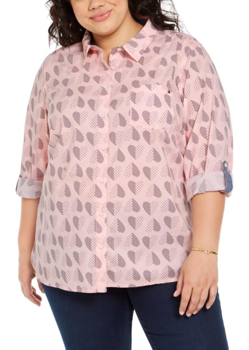 Tommy Hilfiger Plus Size Polka Dot Heart Print Cotton Shirt