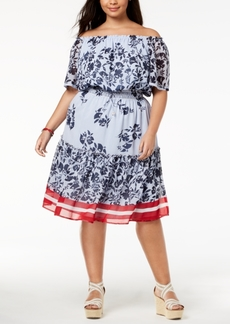 Tommy Hilfiger Plus Size Printed Off-The-Shoulder Dress, Created for Macy's