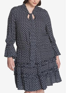 Tommy Hilfiger Plus Size Printed Ruffled Dress, Created for Macy's