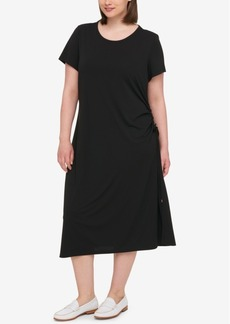 Tommy Hilfiger Plus Size Ruched Midi Dress, Created for Macy's