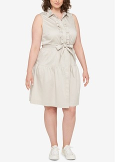 Tommy Hilfiger Plus Size Ruffled Belted Shirtdress, Created for Macy's