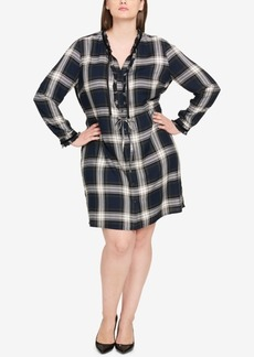 Tommy Hilfiger Plus Size Ruffled Plaid Shirtdress, Created for Macy's