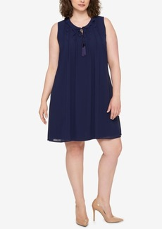Tommy Hilfiger Plus Size Ruffled Tie-Front Dress, Created for Macy's