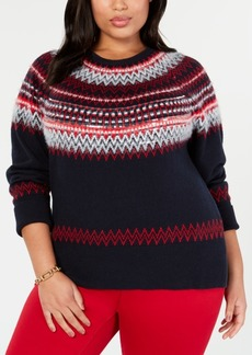 Tommy Hilfiger Plus Size Sequin Fair Isle Sweater, Created for Macy's