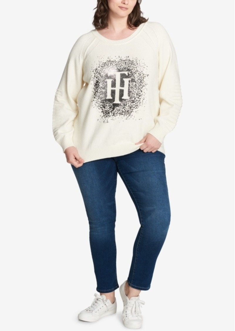 dc6185c8 Tommy Hilfiger Plus Size Sparkle-Logo Sweater, Created for Macy's