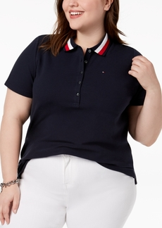 Tommy Hilfiger Plus Size Striped Collar Polo Shirt, Created for Macy's