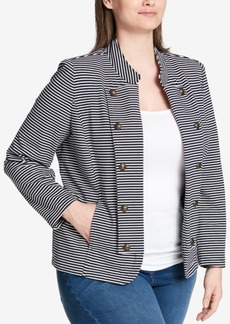 Tommy Hilfiger Plus Size Striped Double-Breasted Jacket, Created for Macy's