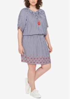 Tommy Hilfiger Plus Size Striped Embroidered Dress