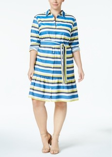 Tommy Hilfiger Plus Size Striped Peplum-Hem Shirtdress, Created for Macy's