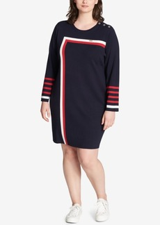 Tommy Hilfiger Plus Size Striped Sweater Dress, Created for Macy's