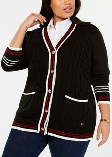 Tommy Hilfiger Plus Size Striped-Trim Cardigan Sweater, Created for Macy's