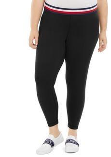 Tommy Hilfiger Sport Plus Size Striped-Waist Leggings