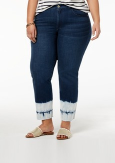 Tommy Hilfiger Plus Size Tie-Dyed-Hem Ankle Jeans, Created for Macy's
