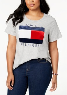 Tommy Hilfiger Plus Size Velvet-Flocked Logo T-Shirt, Created for Macy's