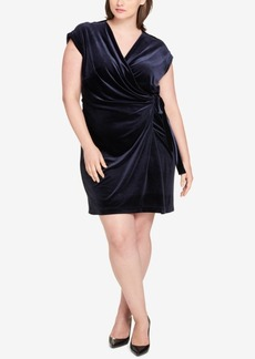 Tommy Hilfiger Plus Size Velvet Wrap Dress, Created for Macy's