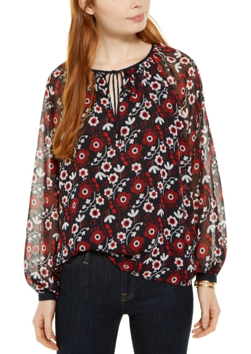 Tommy Hilfiger Printed Blouson-Sleeve Top