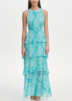 Tommy Hilfiger Printed Chiffon Tiered Maxi Dress, Created for Macy's