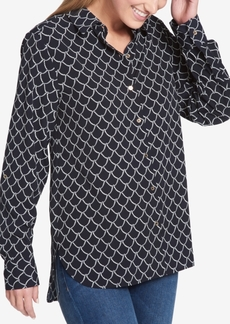 Tommy Hilfiger Printed Collared Shirttail-Hem Shirt, Created for Macy's