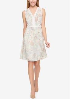 Tommy Hilfiger Printed Crochet-Contrast Dress, Only at Macy's