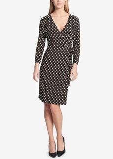 Tommy Hilfiger Printed Faux-Wrap Surplice Dress