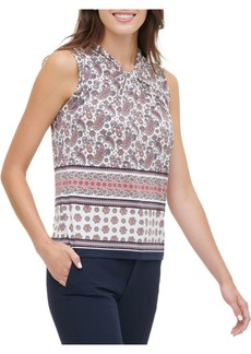 Tommy Hilfiger Printed Knot Neck Sleeveless Knit Top