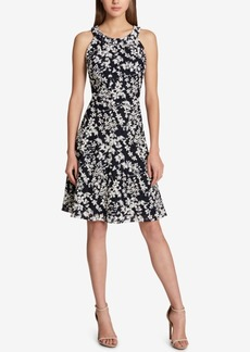 Tommy Hilfiger Printed Lace Fit & Flare Dress