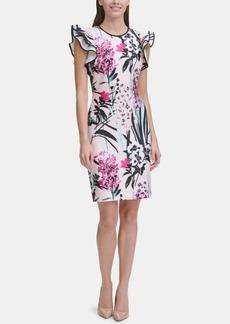 Tommy Hilfiger Printed Ruffle-Sleeve Scuba Sheath Dress