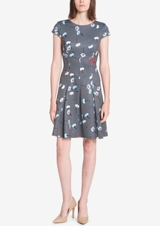 Tommy Hilfiger Printed Scuba Fit & Flare Dress