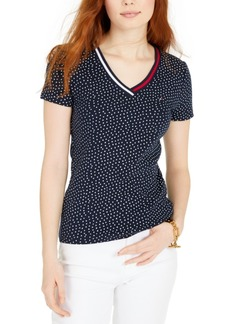 Tommy Hilfiger Printed Striped-Neck Top