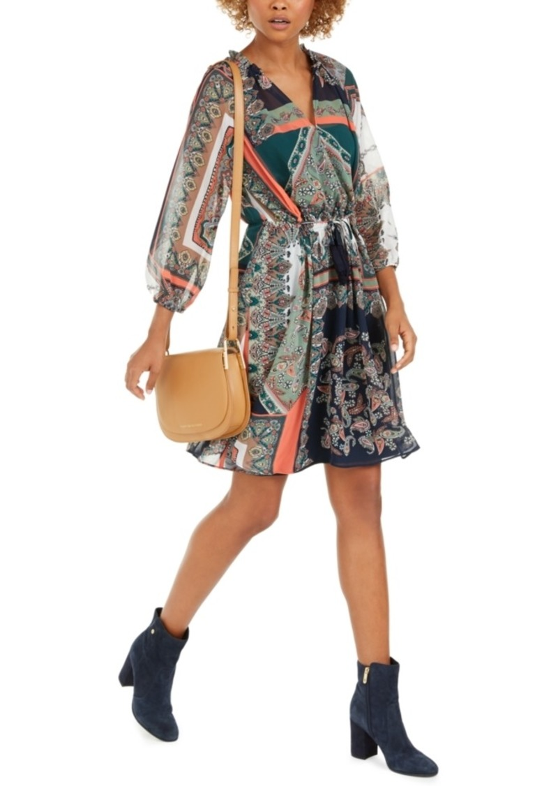 Tommy Hilfiger Printed Tassel-Tie Blouson Dress