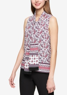 Tommy Hilfiger Printed Tie-Neck Shell