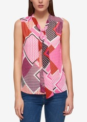 Tommy Hilfiger Printed Tie-Neck Top, Only at Macy's
