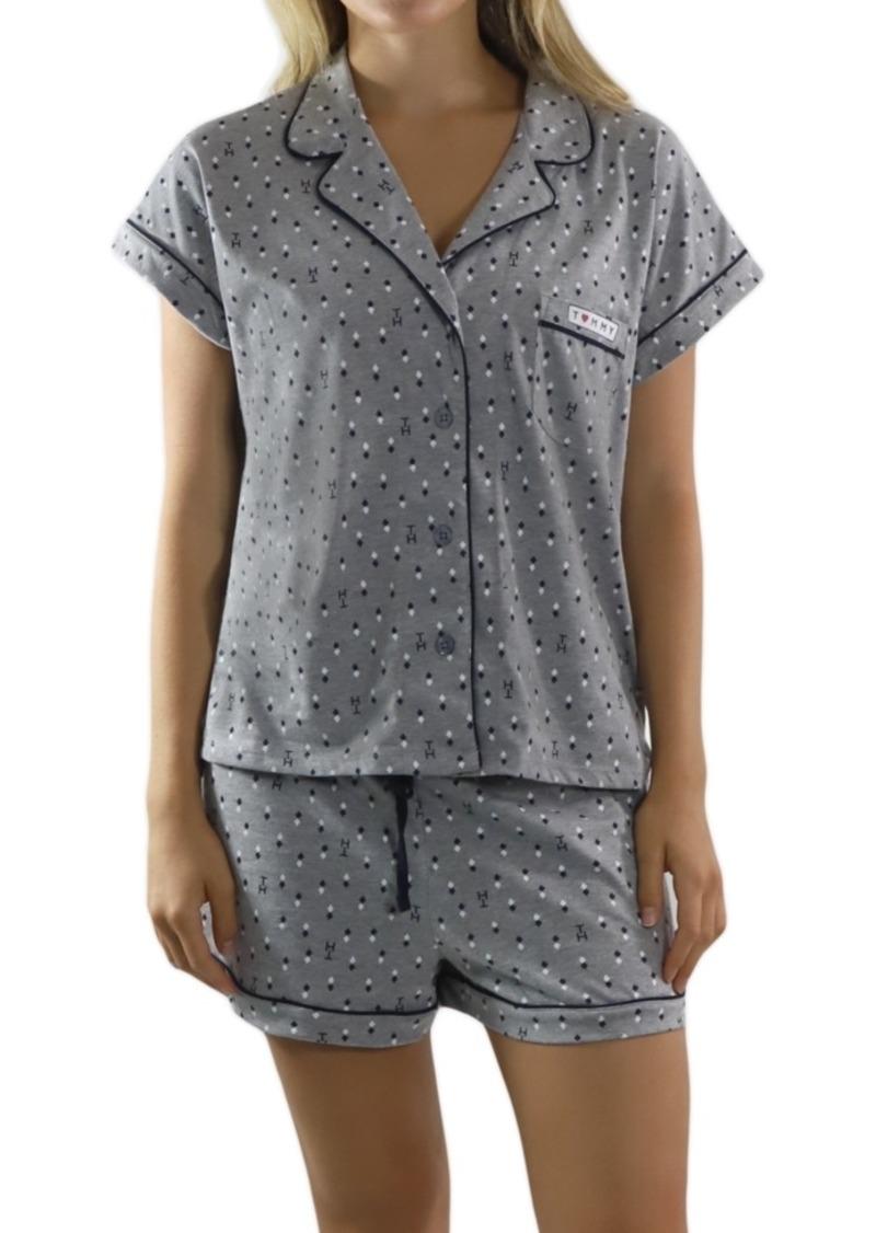 Tommy Hilfiger Printed Top & Shorts Girlfriend Pajamas Set