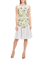Tommy Hilfiger Printed Voile Fit-and-Flare Cotton Dress