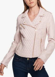Tommy Hilfiger Quilted Faux-Leather Moto Jacket, Created for Macy's